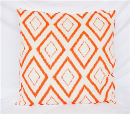 Blurred Diamond Design Vermillion Orange College Cotton Throw Pillow Dorm Decor