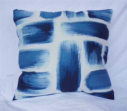 College Cotton Throw Pillow Brushstrokes Nightfall Navy Dorm Decor