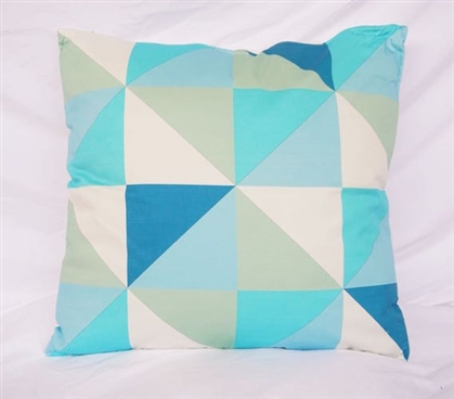 Geometric Triangles Design Blue Dorm DecorCotton Throw Pillow