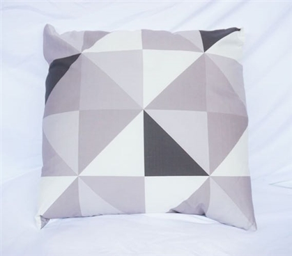 Geometric Triangles - Silver - Cotton Throw Pillow