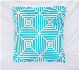 Clashing Stripes Bleached Aqua Decorative Dorm Cotton Throw Pillow