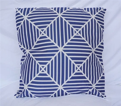 Clashing Stripes College Cotton Throw Pillow Peacock Blue Dorm Bedding