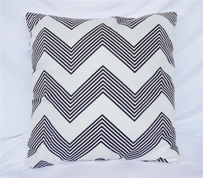Chevron Stripes - Black - Cotton Throw Pillow