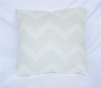 Chevron Stripes Hint of Mint Dorm Decor Cotton Throw Pillow