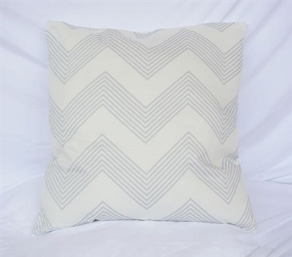 Dorm Decor Cotton Throw Pillow Chevron Stripes Glacier Gray College Pillow