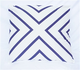 Dorm Decor College Cotton Throw Pillow X Marks the Spot Dark Blue