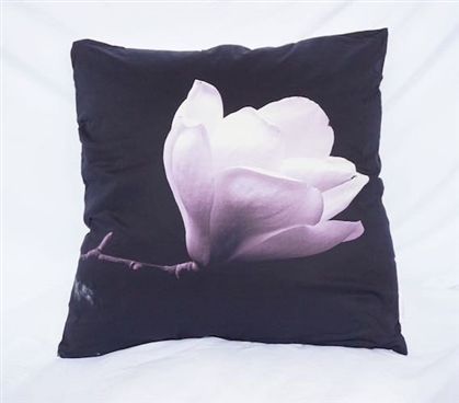 Blossom and Stem - Black - Cotton Throw Pillow