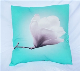 Cockatoo Bright College Cotton Throw Pillow Blossom and Stem Nature Design