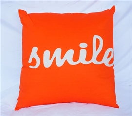 Decorative Dorm Cotton Throw Pillow Vermillion Orange Big Smile Dorm Pillow