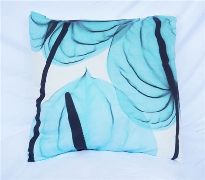 Leaves in the Wind Blue College Cotton Throw Pillow Dorm Decor