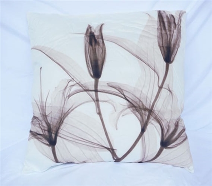 Dancing Petals - Gray - Cotton Throw Pillow