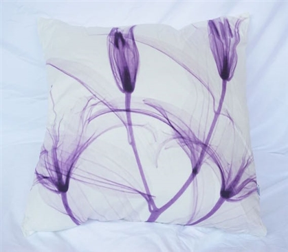 Decorative Dorm Cotton Throw Pillow Dancing Petals Daybreak Purple College Bedding