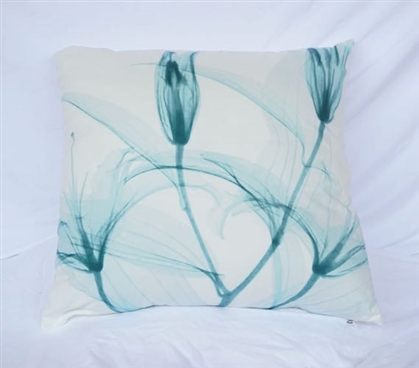 Dancing Petals Bleached Aqua College Cotton Throw Pillow Dorm Decor