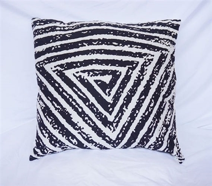 Spiral Triangle Dorm Decor Cotton Throw Pillow Black
