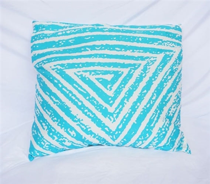 College Cotton Throw Pillow Spiral Triangle Design Peacock Blue Dorm Bedding