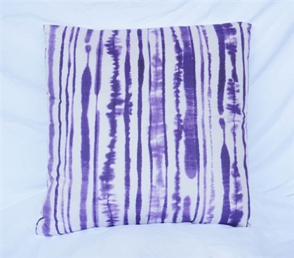 Dorm Decor Cotton Throw Pillow Ink Blot Lines Purple Reign Dorm Bedding