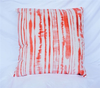 Dorm Room Cotton Throw Pillow Fusion Coral Ink Blot Lines