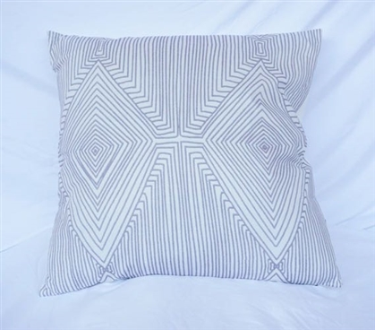 Mirror Image College Cotton Throw Pillow Alloy Gray Dorm Decor