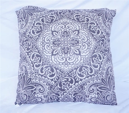 Garden Party Intricate Pewter Dorm Bedding Cotton Throw Pillow