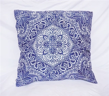 Cotton Throw Pillow Blue Garden Party Decorative Dorm Pillow