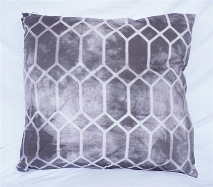 Decorative Dorm Cotton Throw Pillow Alloy Gray Prism Design