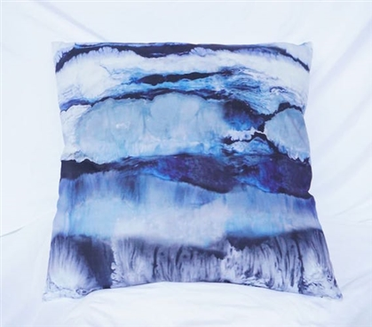 Dorm Decor Ocean Layers Blue College Bedding Cotton Throw Pillow