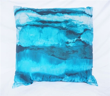 Ocean Layers Dorm Decor Ocean Depths Teal College Cotton Throw Pillow