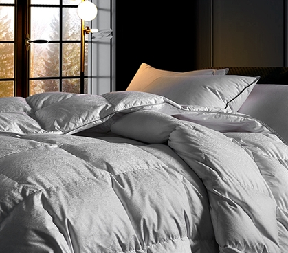 HGOOSE - Jacquard 90% Hungarian White Goose Down Comforter - Oversized Twin XL