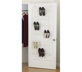 18-Pair White Wire Shoe Rack - Over-The-Door