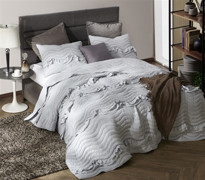 Glacier Gray Handcrafted Pom-Pom Ruffle Waves Extra Long Twin Dorm Room Quilt