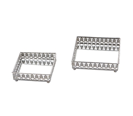 Egnazia - Silver Metal Mirror Tray - Small Square Modern Floral (Set of 2)