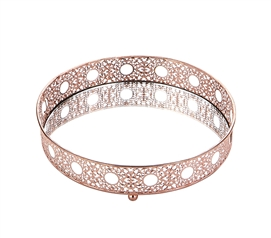 Egnazia - Rose Gold Metal Mirror Tray - Medium Rounded Intricate