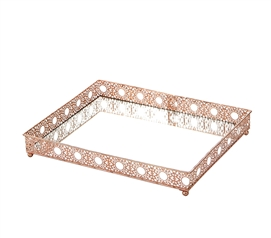 Egnazia - Rose Gold Metal Mirror Tray - Large Square Intricate