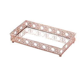 Egnazia - Rose Gold Metal Mirror Tray - Medium Rectangle Intricate