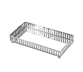 Egnazia - Silver Metal Mirror Tray - Medium Rectangle Linear