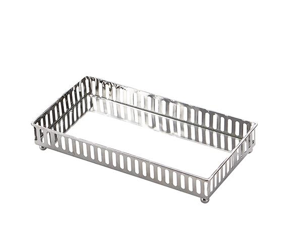 Ega Silver Metal Mirror Tray Medium Rectangle Linear