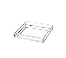 Egnazia - Silver Metal Mirror Tray - Medium Square Open Style
