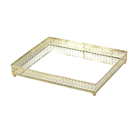 Egnazia - Gold Metal Mirror Tray - Large Rectangle Bright-Eyed Suzy