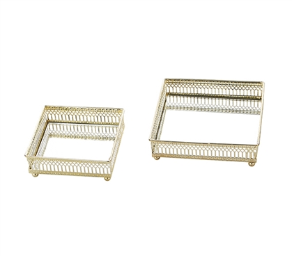 Egnazia - Gold Metal Mirror Tray - Small Square Classico (Set of 2)