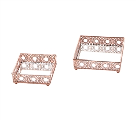 Egnazia - Rose Gold Metal Mirror Tray - Small Square Intricate (Set of 2)