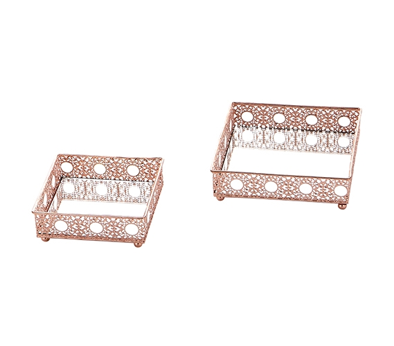 Egnazia Rose Gold Metal Mirror Tray Small Square Intricate Set Of 2
