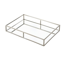 Egnazia - Silver Metal Mirror Tray - Large Wide Rectangle Open Style