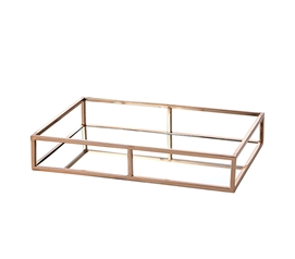 Egnazia - Rose Gold Metal Mirror Tray - Medium Long Rectangle Open Style
