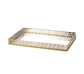 Egnazia - Gold Metal Mirror Tray - Large Rectangle Greek Key