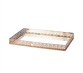 Egnazia - Rose Gold Metal Mirror Tray - Large Rectangle Greek Key