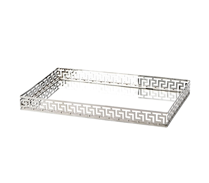 Egnazia - Silver Metal Mirror Tray - Large Rectangle Greek Key