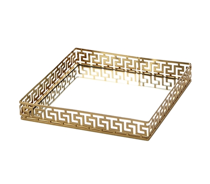 Egnazia - Gold Metal Mirror Tray - Medium Square Greek Key