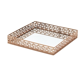 Egnazia - Rose Gold Metal Mirror Tray - Medium Square Greek Key