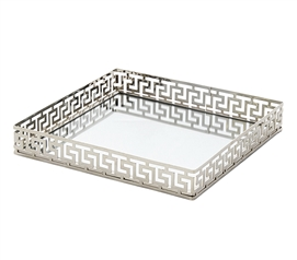 Egnazia - Silver Metal Mirror Tray - Medium Square Greek Key