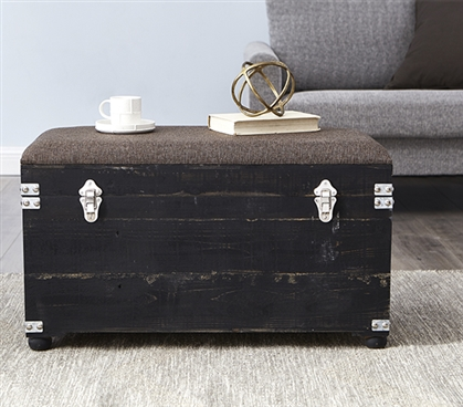 Central Style® Cushion Seater Trunk - Black with Heathered Brown Cushion